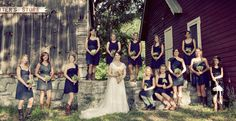 Different navy bridesmaids dresses of choice are fun and eclectic!