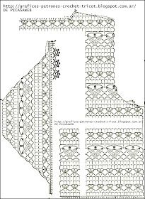 Crochet Fabric , Crochet - Ganchillo - Patrones - Graficos: Remerita Tejida A Ganchillo - Diy Crafts Crochet Bolero Pattern, Gilet Crochet, Crochet Mittens, Crochet Collar, Crochet Jacket, Crochet Blouse, Crochet Chart, Crochet Motif, Crochet Stitches