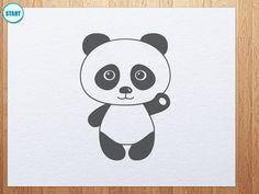 how to draw panda bear waving its hand