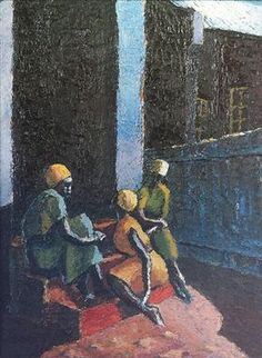 Gerard Sekoto - Three Women on Steps, 1941 Gerard Sekoto, South Africa Art, Social Realism, South African Artists, Cultural Experience, Art Database, Portraits, Black Art, My Arts