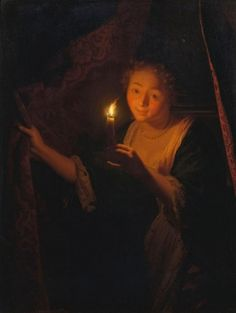 A Girl with a Candle Drawing aside a Curtain 1670 ~ Godfried Schalcken ~ (Dutch : 1643– 1706)