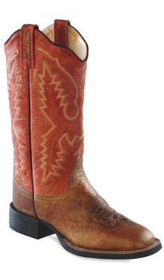 Old West Ladies LeatherBroad Square Toe Cowgirl Boots - Vintage Tan / Red Old West, http://www.amazon.com/dp/B005PXE3QO/ref=cm_sw_r_pi_dp_k2o4qb1QREMR7