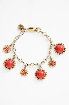 Tory Burch 'Winslow Dot' Logo Charm Bracelet  in my fave color!  available at #Nordstrom