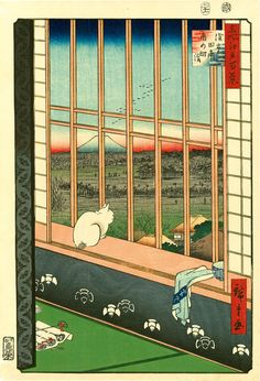 """Review: 'Life of Cats' Spotlights a Centuries-Old Fascination in Japan - NYTimes.com Utagawa Hiroshige's color woodblock print, """"Asakusa Ricefields and Torinomachi Festival"""" (1857)."""