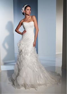 AMAZING ORGANZA SATIN A-LINE STRAPLESS NECKLINE DROPPED WAIST WEDDING DRESS FORMAL PROM COCKTAIL EVENING PARTY GOWN