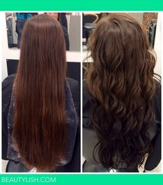 Reverse ombre brown to black on long hair