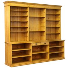 Large Antique Pine Bookcase Wall Unit, Denmark circa 1880 | From a unique collection of antique and modern bookcases at https://www.1stdibs.com/furniture/storage-case-pieces/bookcases/