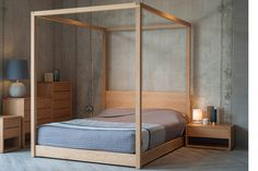 Cube   Modern Four Poster Bed   Solid Wood   Natural Bed …