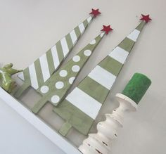 Set of 3 Tall Cottage Green and White Wood Christmas Trees with Polka Dots and Stripes