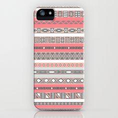 Aztec Print Peach Rose Salmon Grey iPhone & iPod Case by RexLambo - $35.00