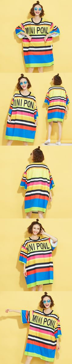 Vogue Girls Summer Three Quarter Sleeve New Fashion Designer Cool Rainbow T Shirt Women Unique Stripe Long T Shirts Streetwear