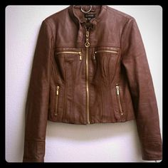 BEBE100%  Leather Moto Jacket Brown with Gold Zipper Accents #bebe #Motorcycle