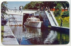 guessing early 1970's ... A boat coming onto Sturgeon Lake after going through the TSW Lock
