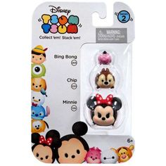 Disney Tsum Tsum Series 2 Bing Bong, Chip & Minnie Minifigure 3-Pack, Multicolor