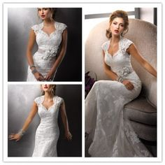Lace Embroidered Cap Sleeves Wedding Dress with Keyhole Back Size 2 4 6 8 10 12 14 16 18 20