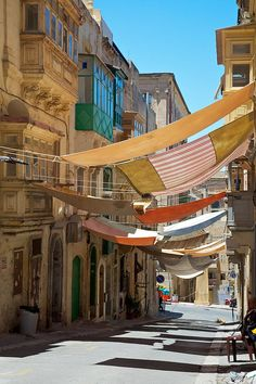 Valletta, Malta. Picturesque way to get shade from the sun.