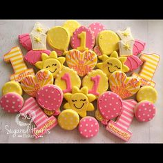 It's raining here in AZ which makes me just as happy as looking at these cheerful cookies! Baby Girl 1st Birthday, First Birthday Parties, First Birthdays, Birthday Ideas, Yellow Birthday, Sunshine Birthday Cakes, Sunshine Cookies, Sunshine Baby Showers, Fancy Cookies