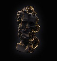 Ornate Statue Skull Sculpture by UK artist Billelis. Arte Black, Black Art, Black And Gold Aesthetic, Black White Gold, Gold Art, Skull Art, Skull Head, Unique Tattoos, Aesthetic Art