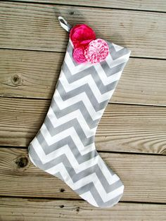 Grey chevron Christmas stocking with pink flower by PaisleyPockets, $20.00