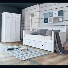 Vestiaire en bois blanc L 125 cm Newport | Maisons du Monde