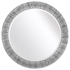Lyone 34-inch Round Powdered Silver Mirror with Bevel | Overstock.com Shopping - The Best Deals on Mirrors