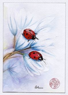 Companions  Ladybugs Original Watercolor Painting by BeccasPlace, $149.99