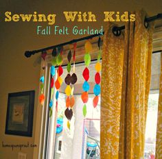 Here is a simple project for sewing with kids - make a fall felt garland - Homespun Sprout