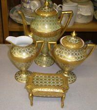 Requintado 4 peça de ouro INCRUSTADO borgfeldt Coronet Limoges demitasse servindo conjunto
