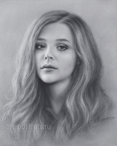 Chloe Grace Moretz Drawing Portrait by Dry Brush. 2016
