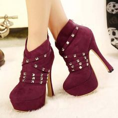 $20.99Spring Autumn Round Toe Stiletto High Heel Zipper Ankle Rivets Wine Red Martens Boots