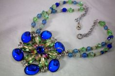 Blue and green large floral & crystal by OutsiderArtJewelry