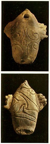 sea animal-shaped pipe. Jomon-era. BC.2,500 - BC.1,200. Akita Japan.