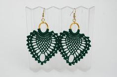 Crochet earrings Large crochet earrings Crochet by lindapaula