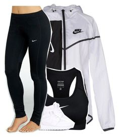 """when you aren't athletic but love athletic clothing "" by drakeschild ❤ liked on Polyvore featuring NIKE"