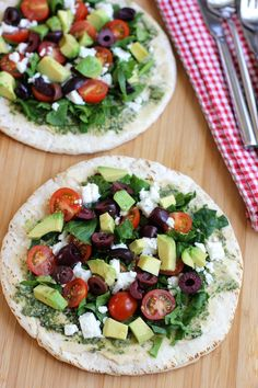 Open faced mediterranean pita sandwich | Green Valley Kitchen - this would be good with eggplant slices instead of pita