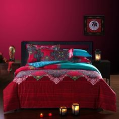 Peacock Blue and Garnet Red Indian Tribal Print Rococo Pattern Bohemian Style Moroccan Themed 100% Cotton Damask Full Size Bedding Sets