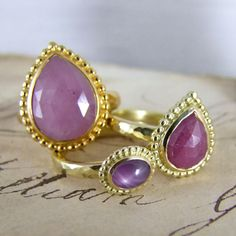 India ruby rings, rose cut and star rubies in beaten gold by Alexis Dove