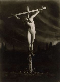 Where can Nude female crucifixion art