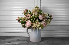 An elegant combination of light pink english cabbage roses, cymbidium orchids and hops. http://www.countryaccentfloralboutique.com/pages/artificial-flower-image-gallery #artificialflowers #flowers #homedecor #homedecorating #decoration #decor #arrangement #weddingdecor #silkflowers #eventdecor #CountryAccent #floral #boutique #Australia