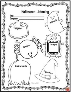 MUSIC LISTENING RESPONSE SHEET for HALLOWEEN  FIVE Halloween Themed Listening Response Worksheets.  They have been designed for use with a variety of grade levels in mind and can be used with all your Halloween listening activities.
