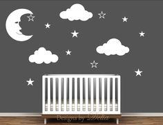 ♥♥♥♥ Included ♥♥♥♥ 1 Moon - 26 tall by 21 wide 3 Clouds - 13 tall by 25 wide 10 Stars Directions for applying your decals ♥♥♥♥ Colors ♥♥♥♥♥ In the message to seller section at checkout please in Clouds Nursery, Moon Nursery, Star Nursery, Nursery Wall Decals, Nursery Room, Wall Murals, Aviation Nursery, Airplane Nursery, Baby Boy Rooms