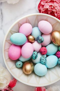 pink + turquoise easter eggs