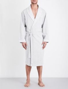 HUGO BOSS Stripe lapel cotton bathrobe