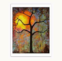 Wall Art Tree, Sunset to Sunrise, Sunset Print, Tree Wall Decor, Woodland Decor