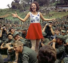 Miss Alabama visits the troops in An Khe, Vietnam, 1970                                                                                                                                                                                 More