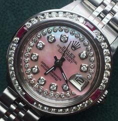 Rolex Ladies Steel Watch, With Pink Pearl Diamond Dial &Diamond Bezel, + Rubies #Rolex #LuxuryDressStyles