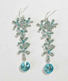 Glistening Aqua Floral Rhinestone Earrings by EllenEverydayJewelry, $11.00