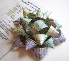 DIY Gift Bow out of recycled mags