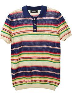 Dsquared2 Striped Knit Polo Shirt - Cube Menswear - Farfetch.com
