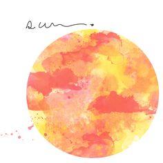 Watercolor sun pattern